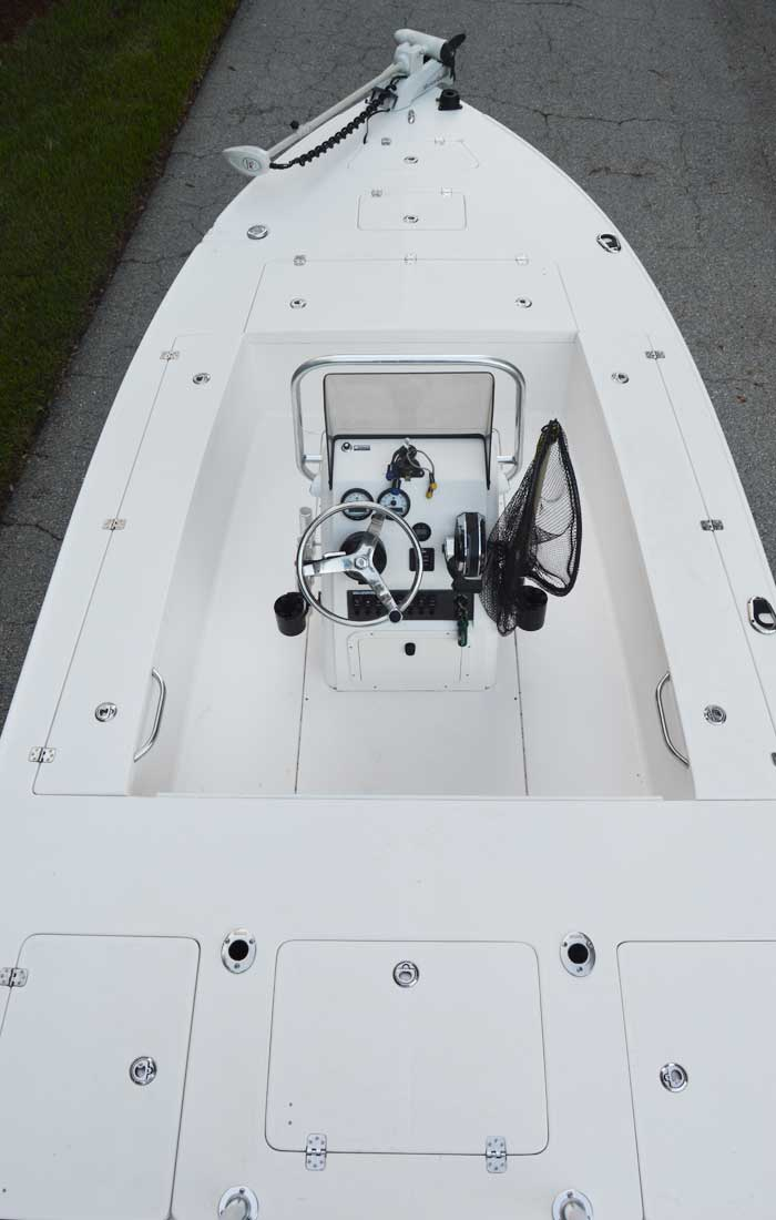 Our Bluwater 180 Custom Flats Boat View Of Expansive Deck