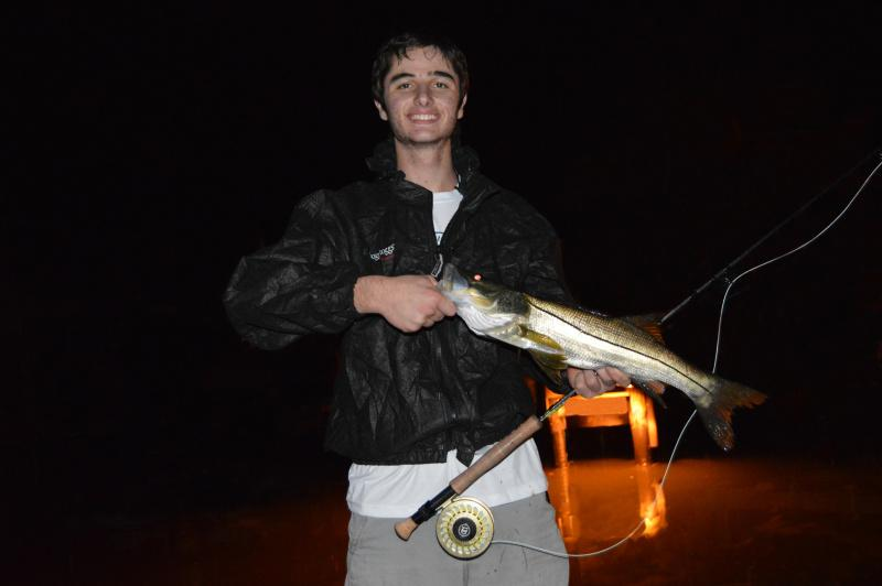 Big Snook On Fly Rod At Night